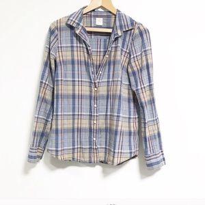 JCrew. Worn on TV show Dexter. The boyfriend shirt